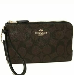 Coach Double Zipper Wristlet Wallet Brown/Black